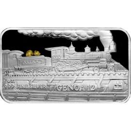 1 oz .999 Silver V&T Railway Genoa Train Ingot w/ Gold Nugget