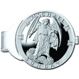 Michael/Sunday Silver Medallion Money Clip