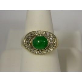 R985- 14k Jade & Diamond Ring