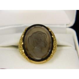 R916 ~ 18k Vintage Smokey Quartz Cameo Ring