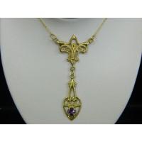 N318 ~ 14k Vintage Amethyst Lavalier Necklace