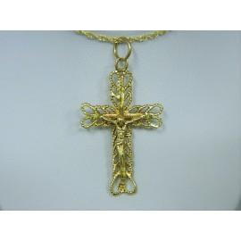 P194 ~ 14k Ornate Gold Crucifix Pendant