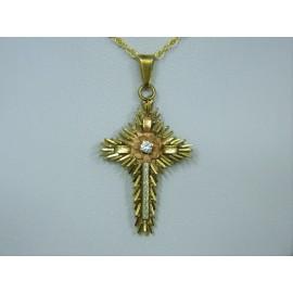 P194 ~ Vintage 14k Diamond Cross