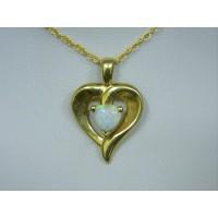P198 ~ 14k Opal Heart Pendant