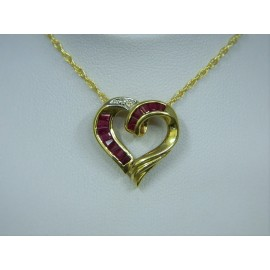 P240 ~ 14k Ruby & Diamond Heart Pendant