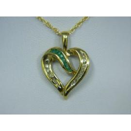 P298 ~ 14k Emerald & Diamond Heart Pendant