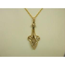 P334 ~ 14k Vintage Diamond & Seed Pearl Pendant