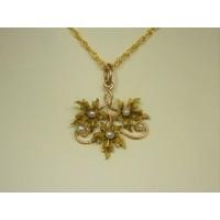 P349 ~ 10k Vintage Gold Leaf & Seed Pearl Pendant