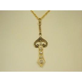 P526 ~ 14k Vintage Diamond & Seed Pearl Pendant