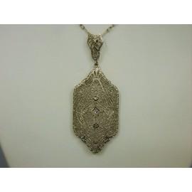 P572 ~ 14k Vintage Filigree & Diamond Pendant