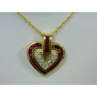 P749 ~ 14k Ruby & Diamond Heart Pendant