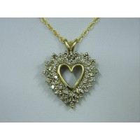 P662 ~ 10k Champagne Diamond Heart Pendant
