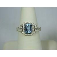 R1397 ~ 18k 1.5 ct Aquamarine & Diamond Ring