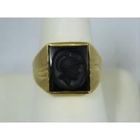 R186 ~ 10k Hematite Cameo Ring