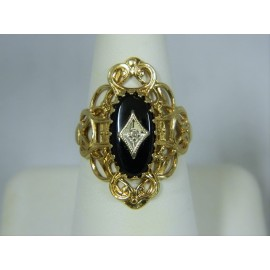 R296 ~ 14k Black Onyx & Diamond Filigree Ring