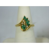 R327 ~ 14k Emerald & Diamond Ring