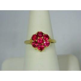 R349 ~ Vintage 14k (7) Ruby Ring