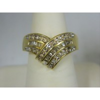 R392 ~ 10k Baguette & Round Diamond Ring