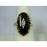 R404 ~ 10k Black Onyx & Diamond Ring