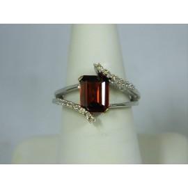 R419 ~ 14k Garnet & Diamond Ring