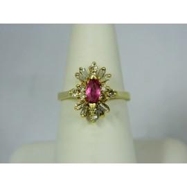 R449 ~ 14k Pink Sapphire & Diamond Ring