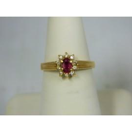 R536 ~ 14k Ruby & Diamond Ring