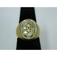 R718 ~ 14k Brushed Gold Diamond Ring