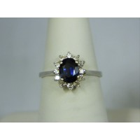 R654 ~ 14k Sapphire & Diamond Ring