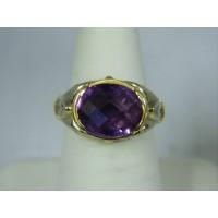 R715 ~ 14k Ornate Amethyst & Diamond Ring