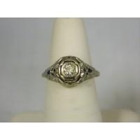 R716 ~ 14k Art Deco Diamond & Sapphire Ring