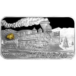 1 oz .999 Silver V&T Trailway Inyo Train Ingot w/ Gold Nugget