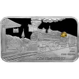 1 oz .999 Silver V&T Railway Columbus Train Ingot w/ Gold Nugget