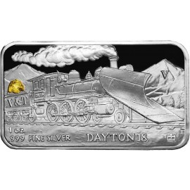 1 oz .999 Silver V&T Railway Dayton Train Ingot w/ Gold Nugget