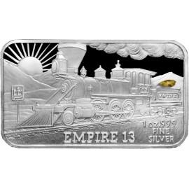 1 oz .999 Silver V&T Railway Empire Train Ingot w/ Gold Nugget