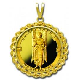 Raphael/Wednesday 1/4 oz Gold Medallion Pendant