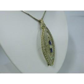 N997 ~ 14k Art Deco Diamond & Sapphire Pendant/Pin