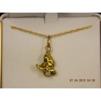 5 gm Gold Nugget & Diamond Pendant