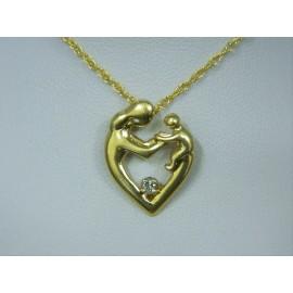 P187 ~ 14k Diamond Mother & Child Heart Pendant