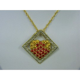 P344 ~ 14k Yellow & Orange Sapphires w/ Diamonds Pendant