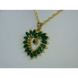 P418 ~ 14k Emerald Heart Pendant