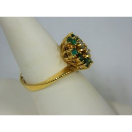 R1297 ~18k Emerald & Diamond Ring