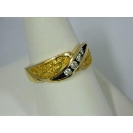 R1336 ~ 14k Nugget & (4) Diamond Ring
