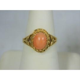 R297 ~ 14k Vintage Pink Coral Ring