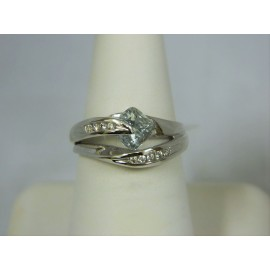 R418 ~ 14k Aquamarine & Diamond Ring