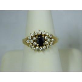 R442 ~ 14k Sapphire & Diamond Ring