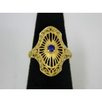 R454 ~ 14k Sapphire Filigree Ring