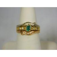 R629 ~ 18k Emerald & Diamond Ring