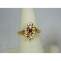 R669 ~ 14k Ruby & Diamond Ring