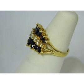 R755 ~ 14k Sapphire & Diamond Ring