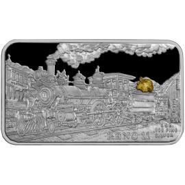 1 oz .999 Silver V&T Railway Reno Train Ingot w/ Gold Nugget